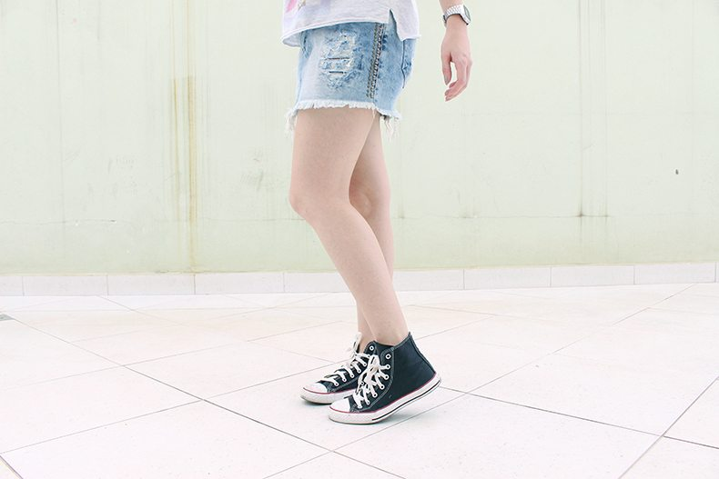 Meu Look | Saia jeans e regata Bwana Jeans